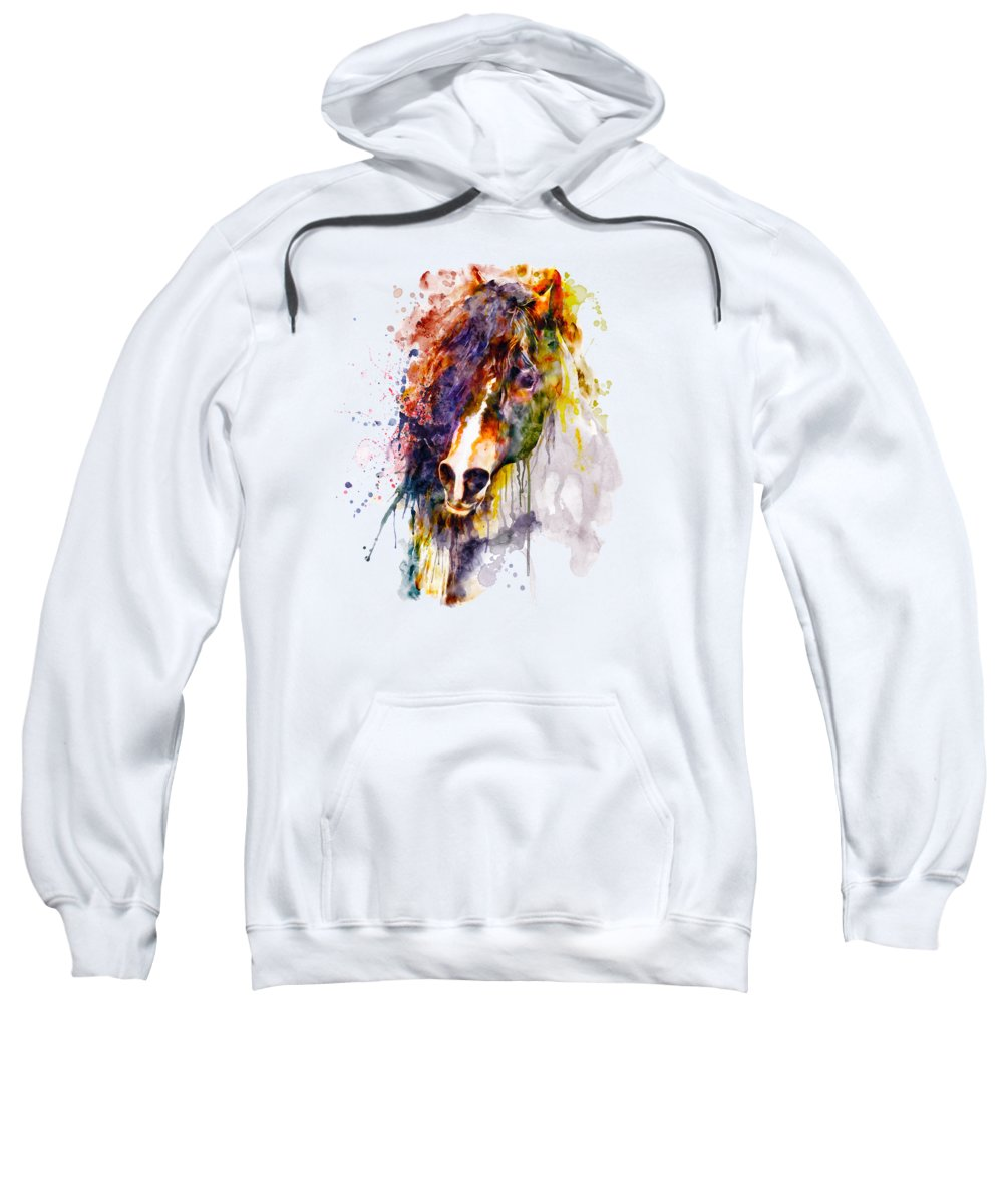 Abstract Sweatshirt featuring the painting Abstract Horse Head by Marian Voicu