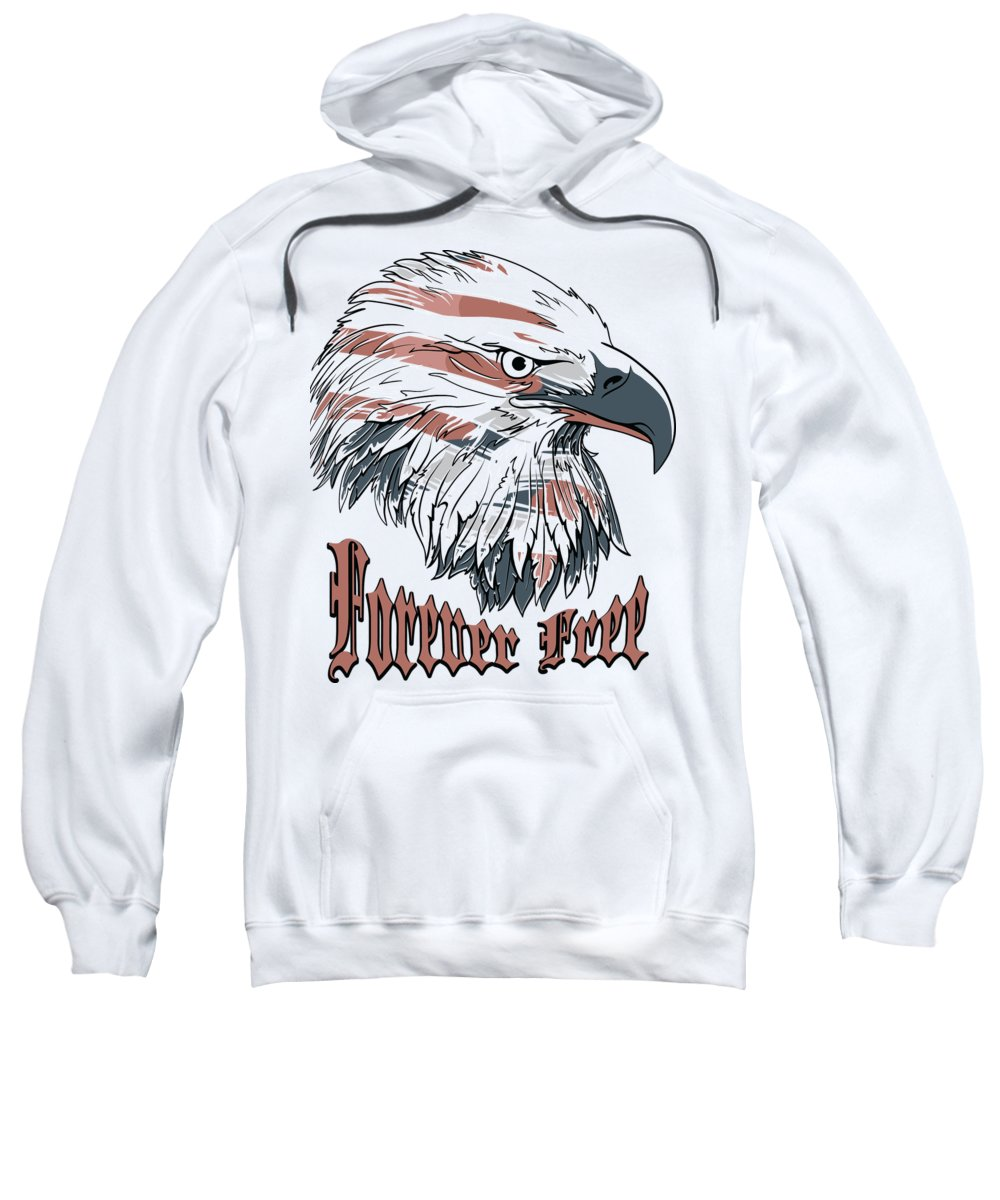 4th-of-july Sweatshirt featuring the digital art American Flag Bald Eagle Forever Free by Passion Loft