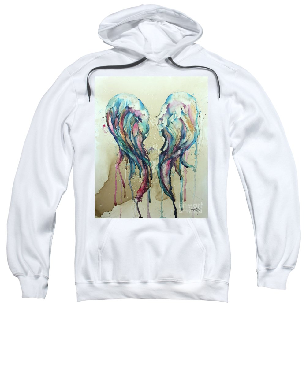 Angel Sweatshirt featuring the painting Angel Wings by Christy Freeman Stark