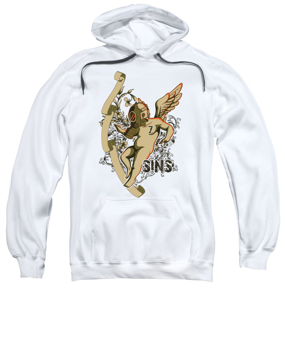 Religion Sweatshirt featuring the digital art Angel With Gas Mask by Passion Loft