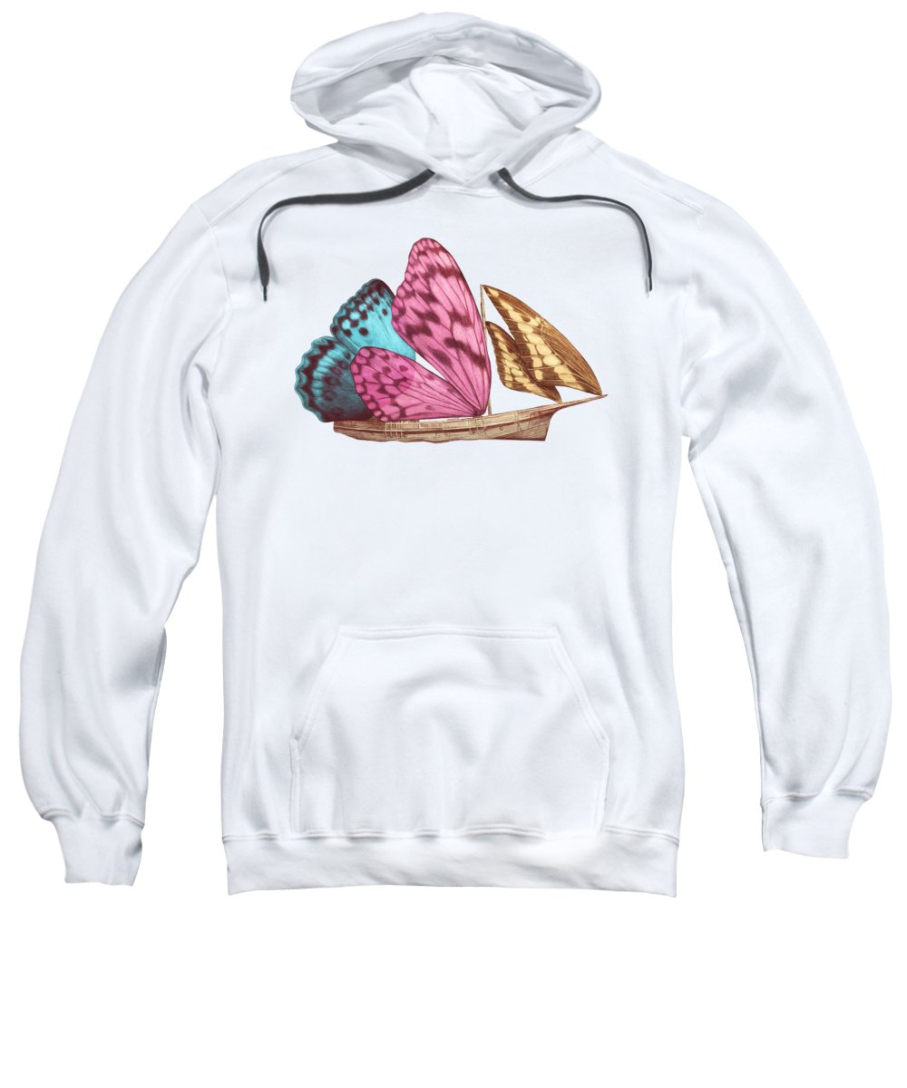 Butterfly Sweatshirt featuring the drawing Butterfly Ship by Eric Fan