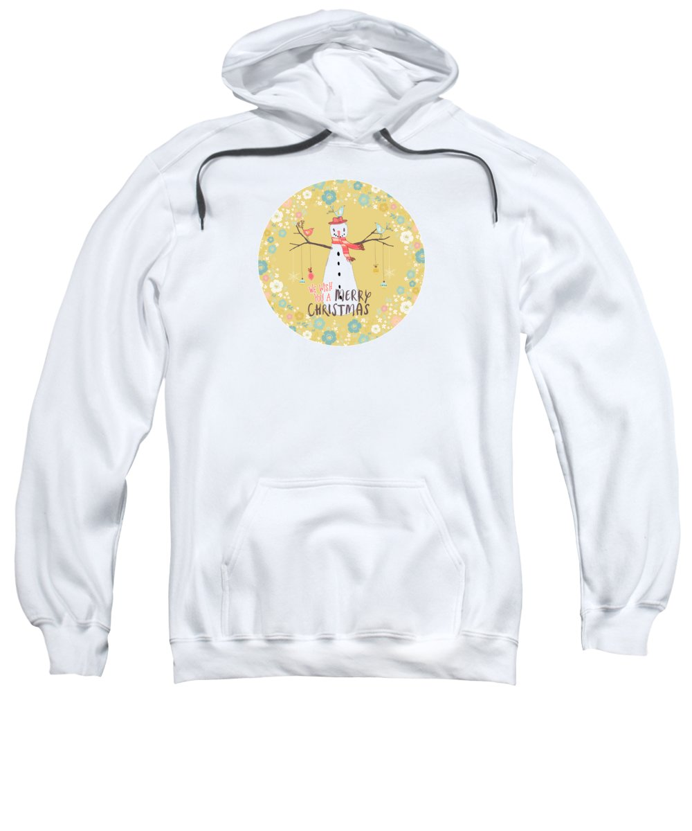 Snowman Sweatshirt featuring the mixed media Flower Power Christmas Snowman 2 by Amanda Lakey