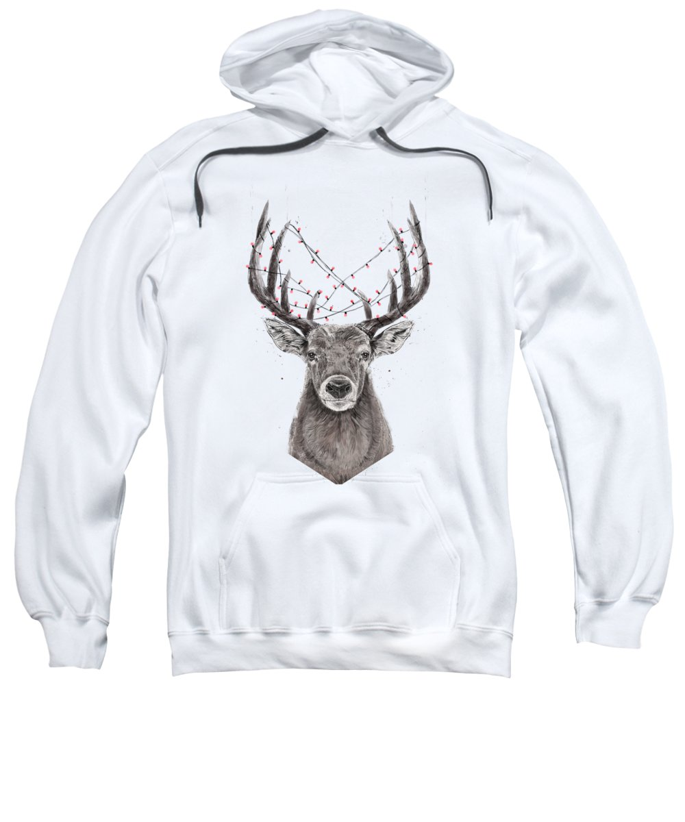 Deer Sweatshirt featuring the drawing Xmas Deer II by Balazs Solti