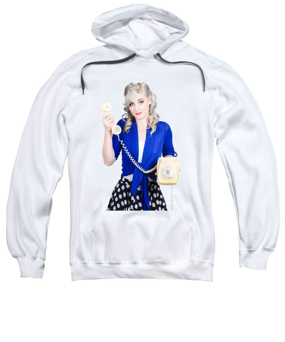 Phone Sweatshirt featuring the photograph Attractive Blond Female Secretary On Vintage Phone by Jorgo Photography - Wall Art Gallery