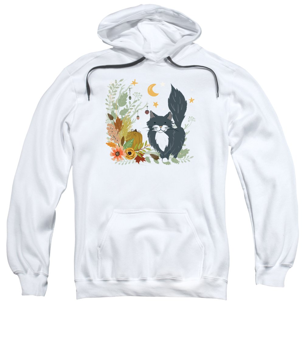 Cat Sweatshirt featuring the painting Autumn Garden Moonlit Kitty Cat by Little Bunny Sunshine