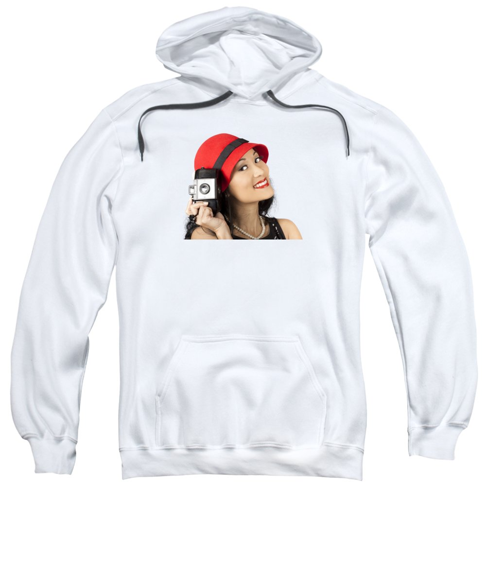 Photographer Sweatshirt featuring the photograph Beautiful Chinese Woman Holding Old Film Camera by Jorgo Photography - Wall Art Gallery