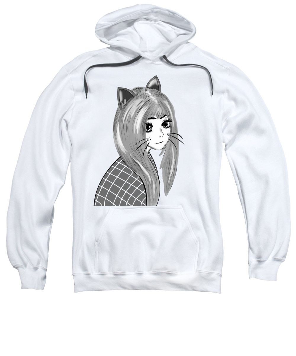 Anime Accessories Sweatshirt featuring the digital art Black And White Girl by Kaylin Watchorn