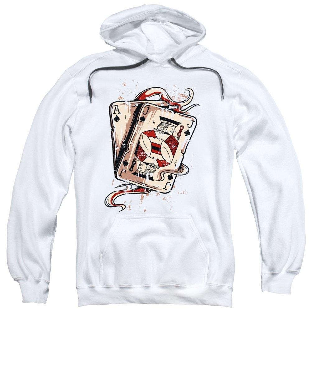 Card-games Sweatshirt featuring the digital art Blackjack by Passion Loft