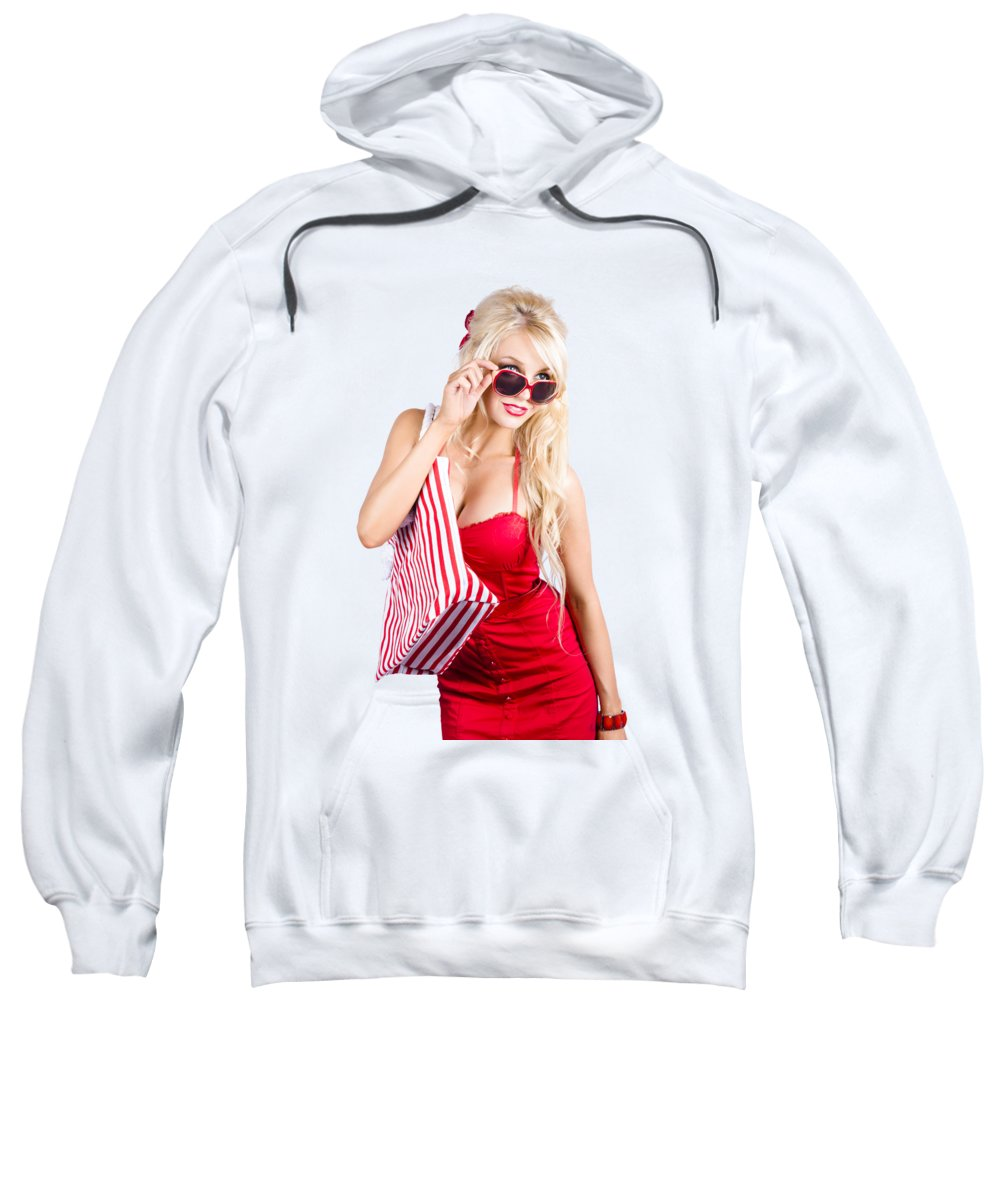 Shopping Sweatshirt featuring the photograph Blond Woman Shopping by Jorgo Photography - Wall Art Gallery
