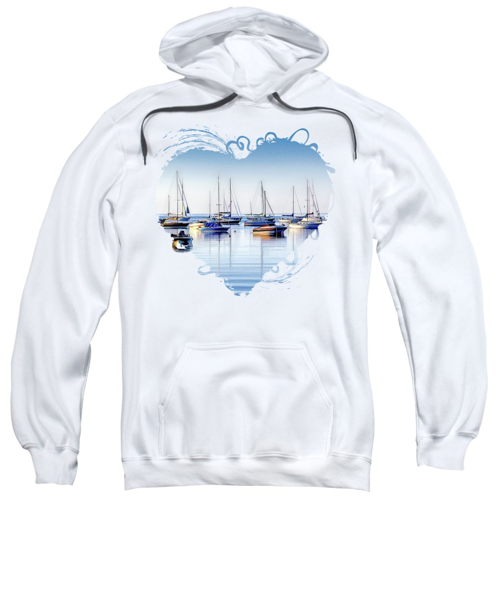 Door County Sweatshirt featuring the painting Boat Reflections Panorama by Christopher Arndt