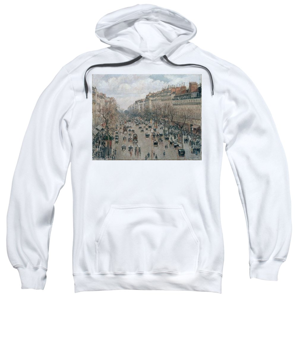 Camille Pissarro Sweatshirt featuring the painting Boulevard Montmartre - Afternoon, Sunlight, 1897 by Camille Pissarro