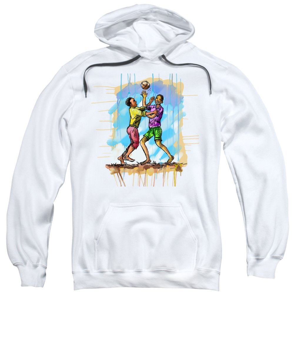 Fine Art Sweatshirt featuring the painting Boys Playing With A Ball by Anthony Mwangi