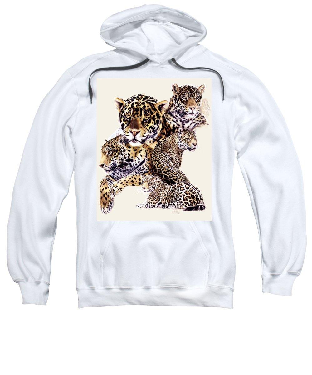 Jaguar Sweatshirt featuring the drawing Burn by Barbara Keith