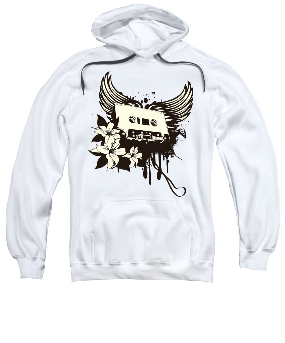 Gothic Sweatshirt featuring the digital art Cassette Tape With Wings by Passion Loft