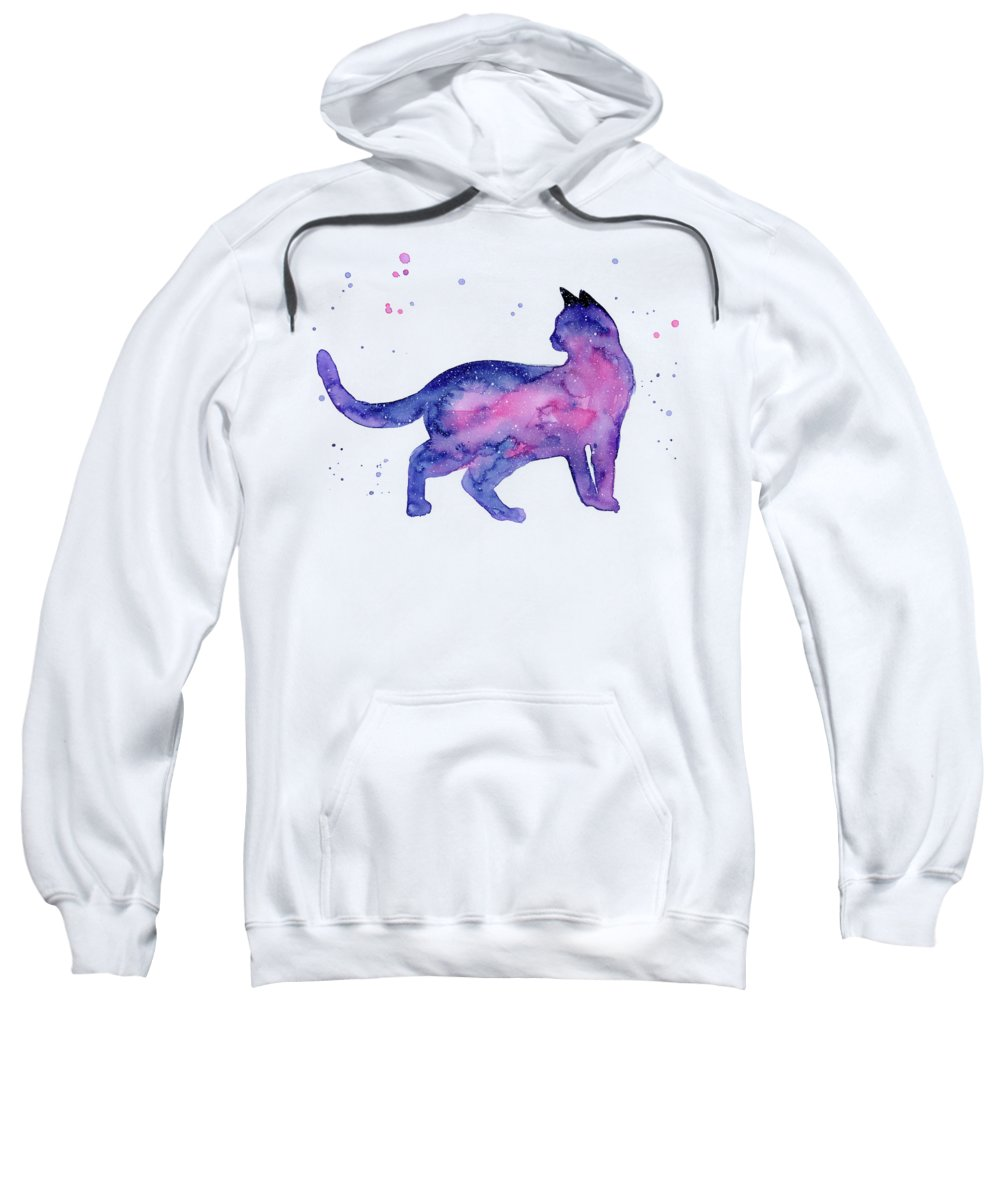 Cat Sweatshirt featuring the painting Cat In Space by Olga Shvartsur