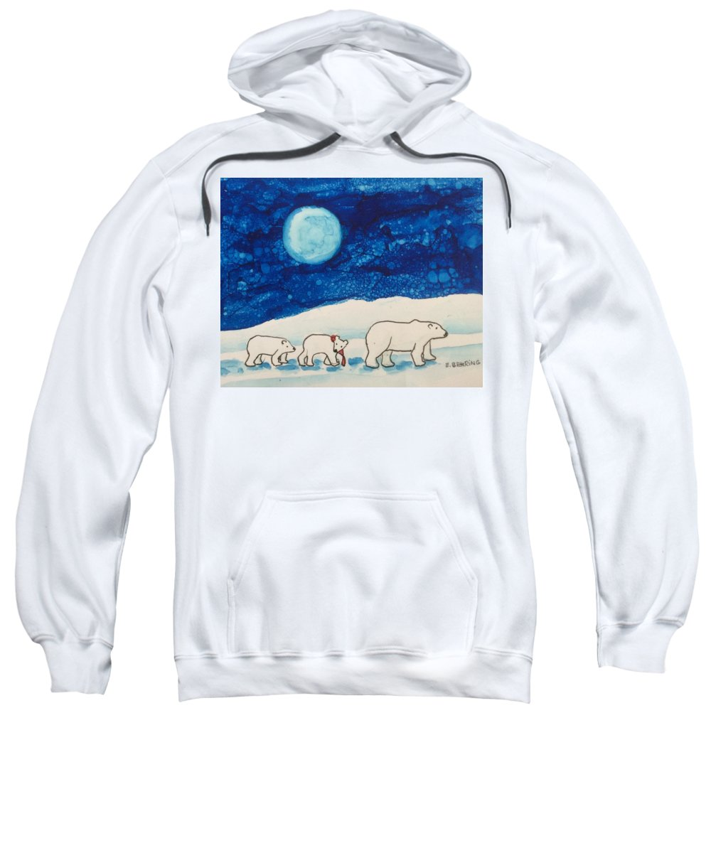 Sweatshirt featuring the painting Christmas Bears by Eva Behring