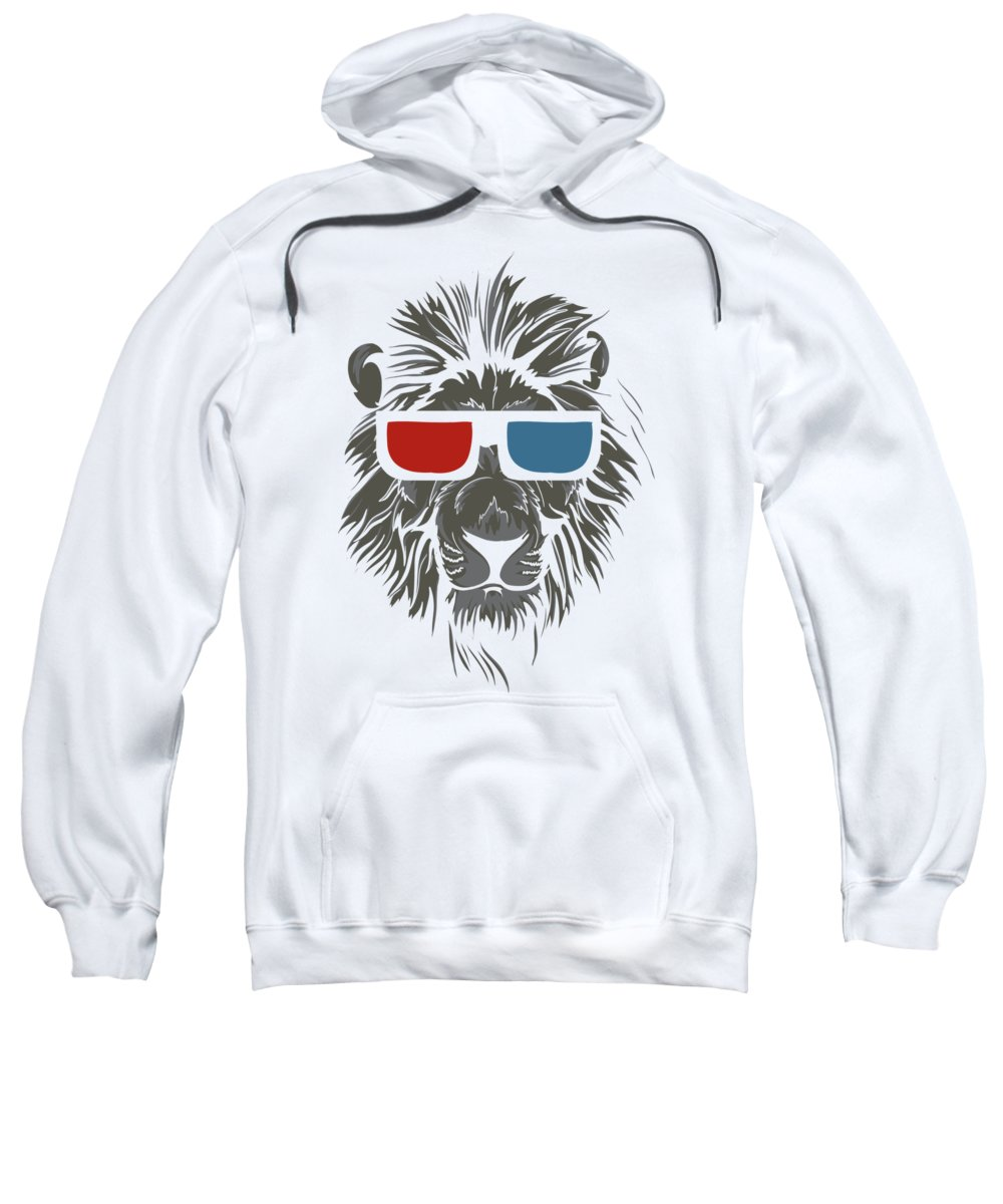 Cat Sweatshirt featuring the digital art Cool Lion In 3d Glasses by Passion Loft
