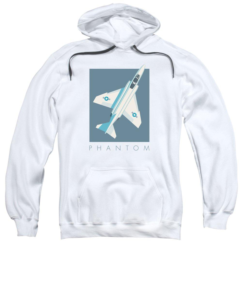Jet Sweatshirt featuring the digital art F4 Phantom Jet Fighter Aircraft - Slate by Ivan Krpan