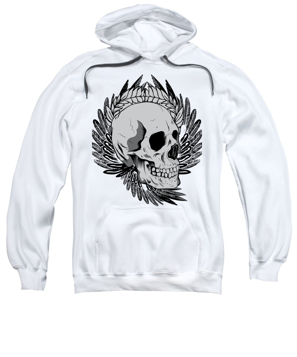 Halloween Sweatshirt featuring the digital art Feathered Skull by Passion Loft