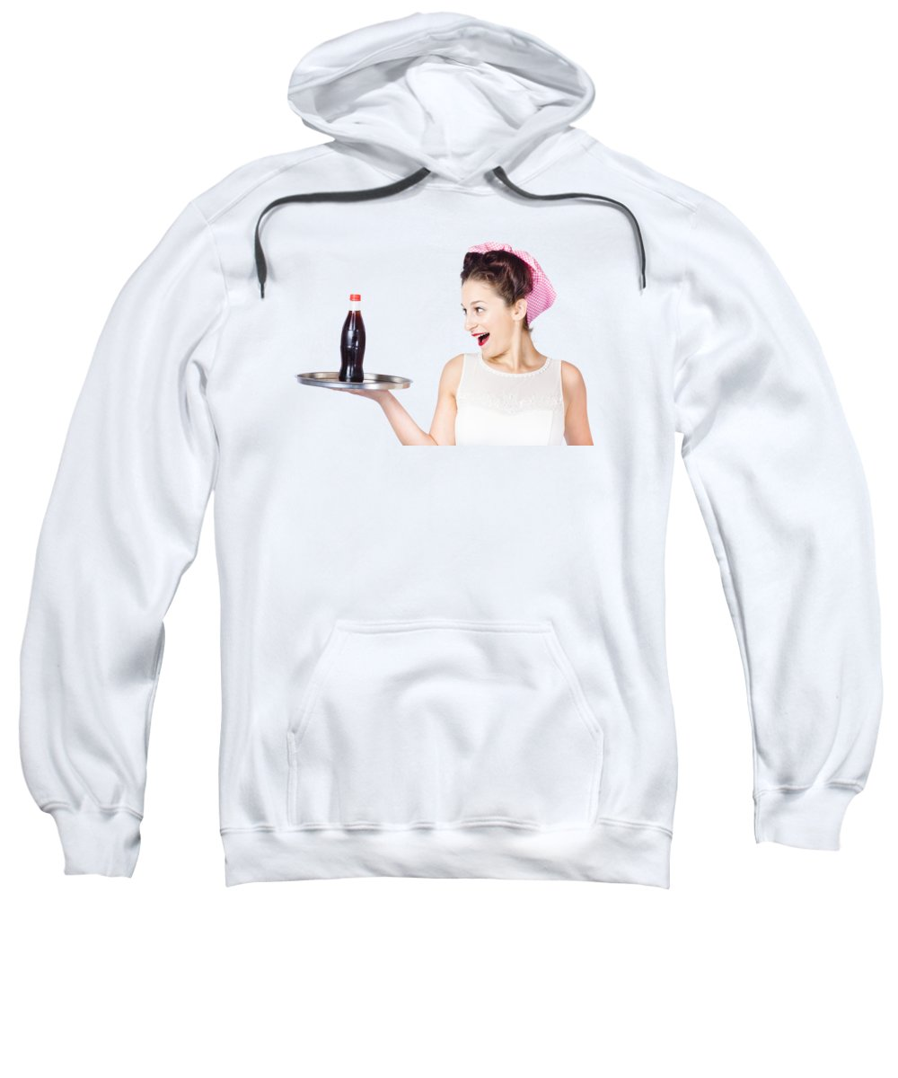Waitress Sweatshirt featuring the photograph Fifties Style Female Waiter Serving Up Soda by Jorgo Photography - Wall Art Gallery