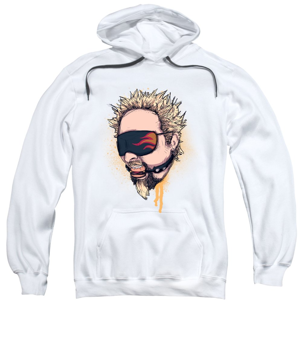 Guy Sweatshirt featuring the drawing Flavor Town by Ludwig Van Bacon