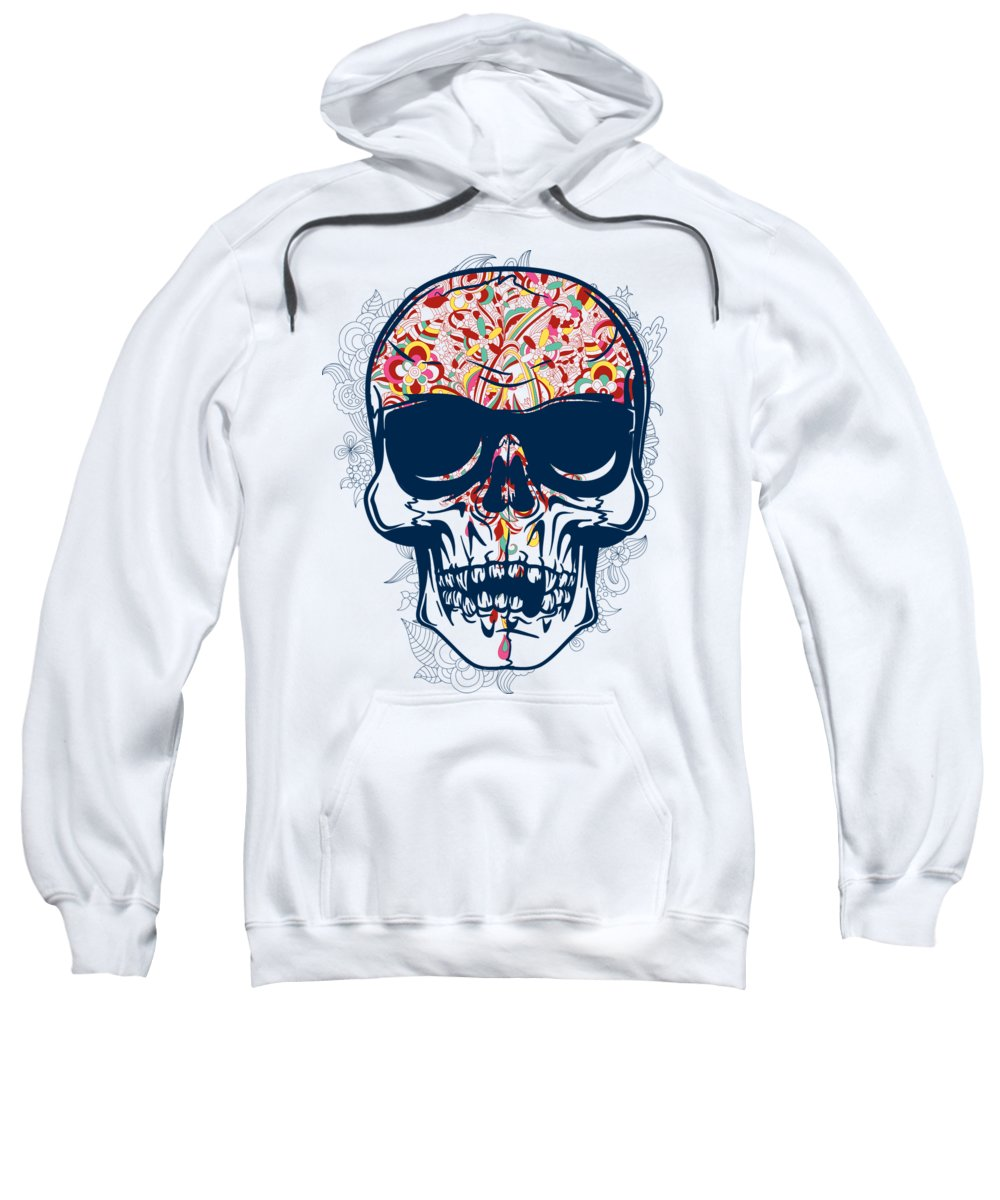 Halloween Sweatshirt featuring the digital art Floral Brain Skull by Passion Loft