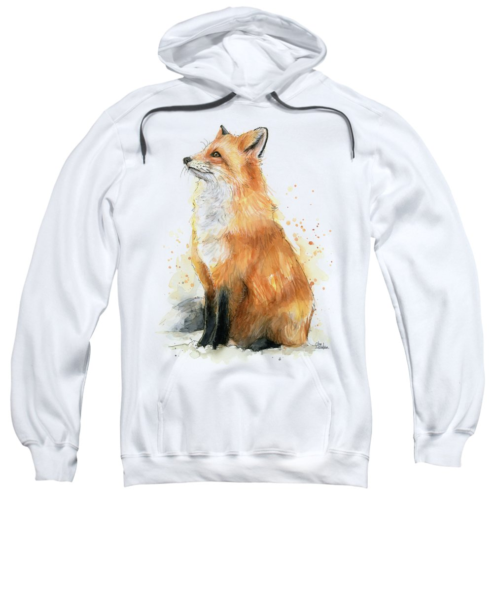 Watercolor Fox Sweatshirt featuring the painting Fox Watercolor by Olga Shvartsur
