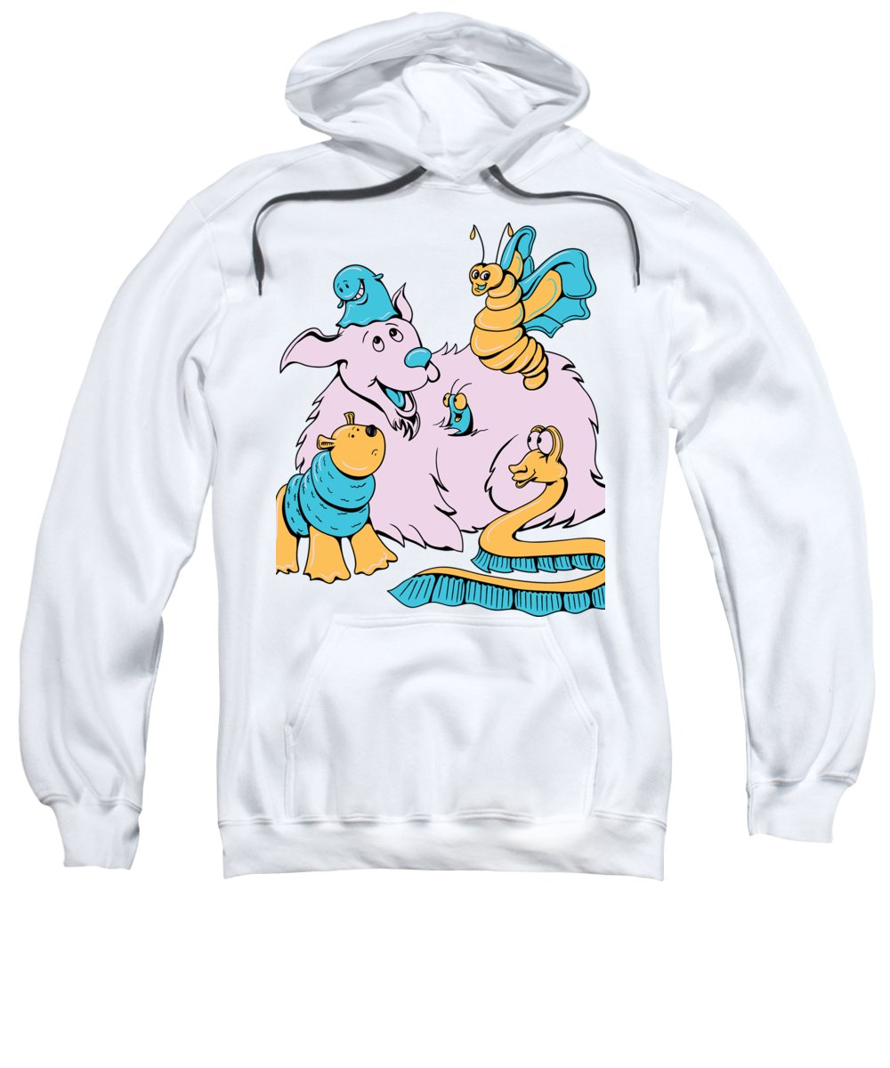 Cartoon Sweatshirt featuring the digital art Funny Animals by Passion Loft