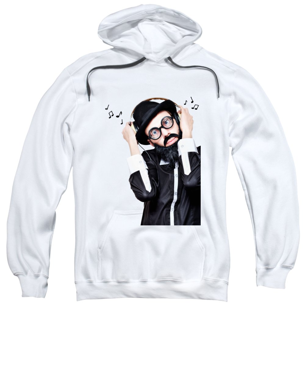 Music Sweatshirt featuring the photograph Funny Man Wearing Headphone On Blue Background by Jorgo Photography - Wall Art Gallery