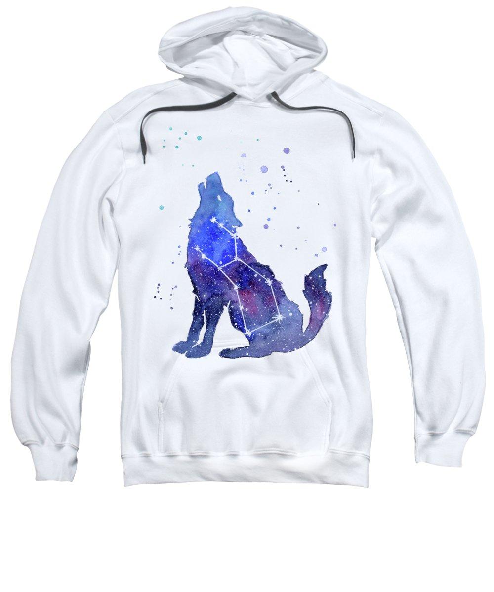 Wolf Sweatshirt featuring the painting Galaxy Wolf - Lupus Constellation by Olga Shvartsur