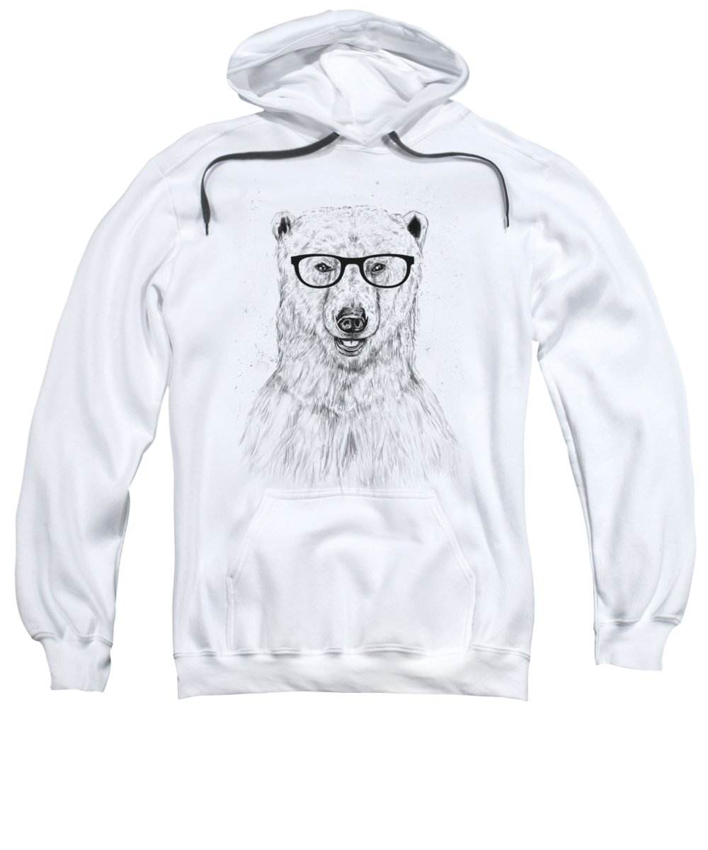Bear Sweatshirt featuring the drawing Geek Bear by Balazs Solti