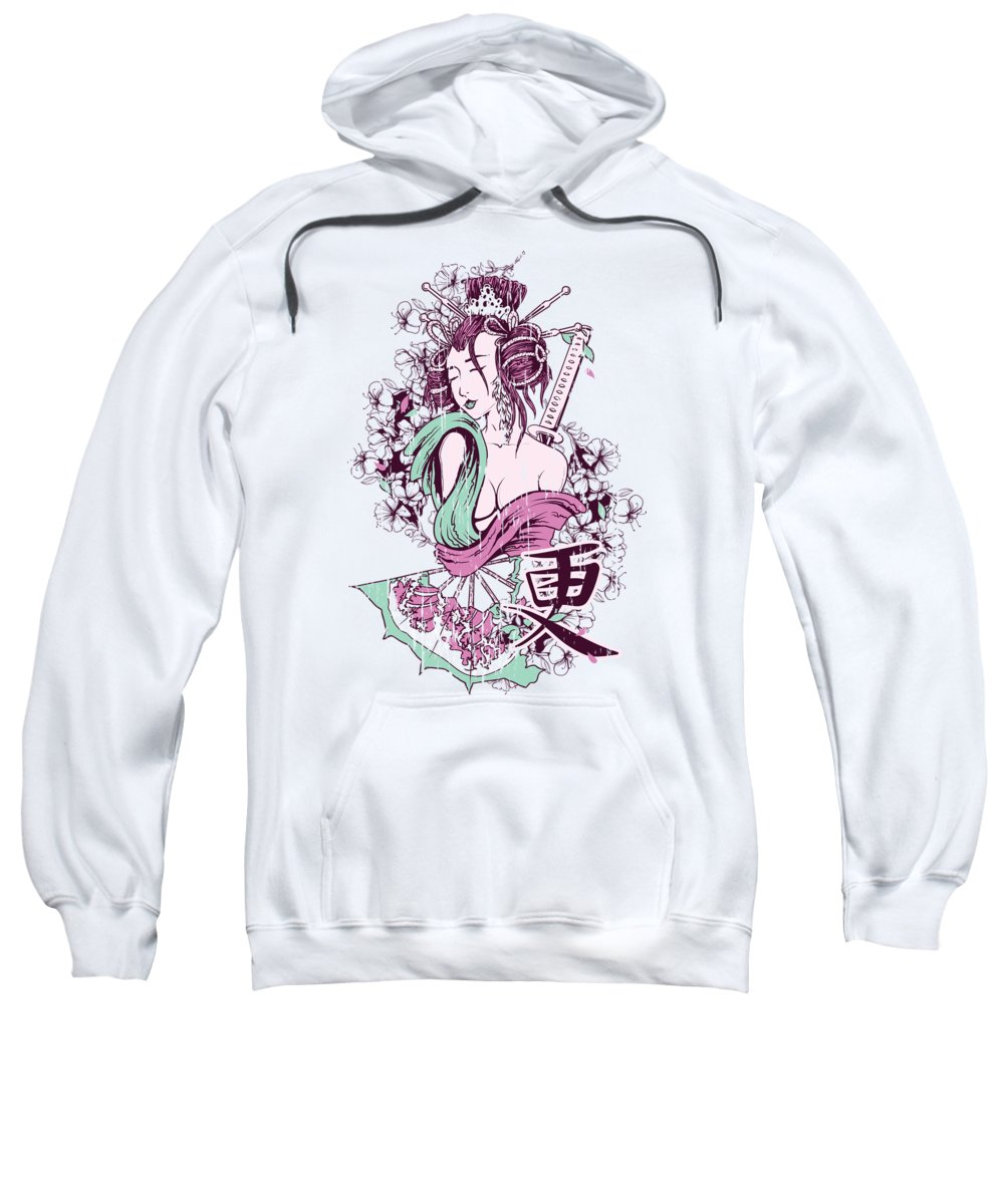 Asian-woman Sweatshirt featuring the digital art Geisha by Passion Loft