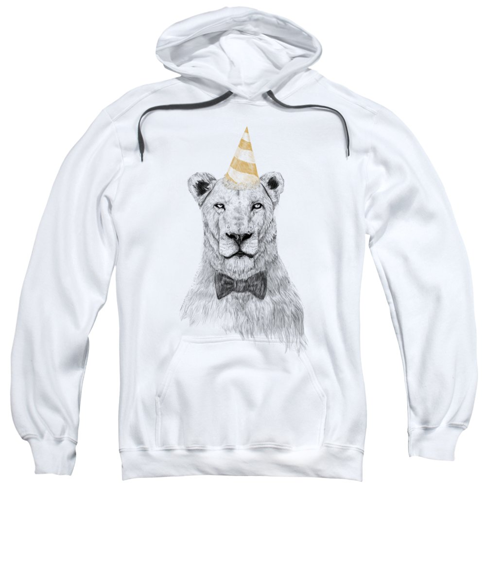 Lion Sweatshirt featuring the drawing Get The Party Started by Balazs Solti