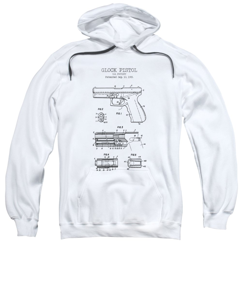 Glock Pistol Sweatshirt featuring the digital art Glock Pistol Patent by Denny H