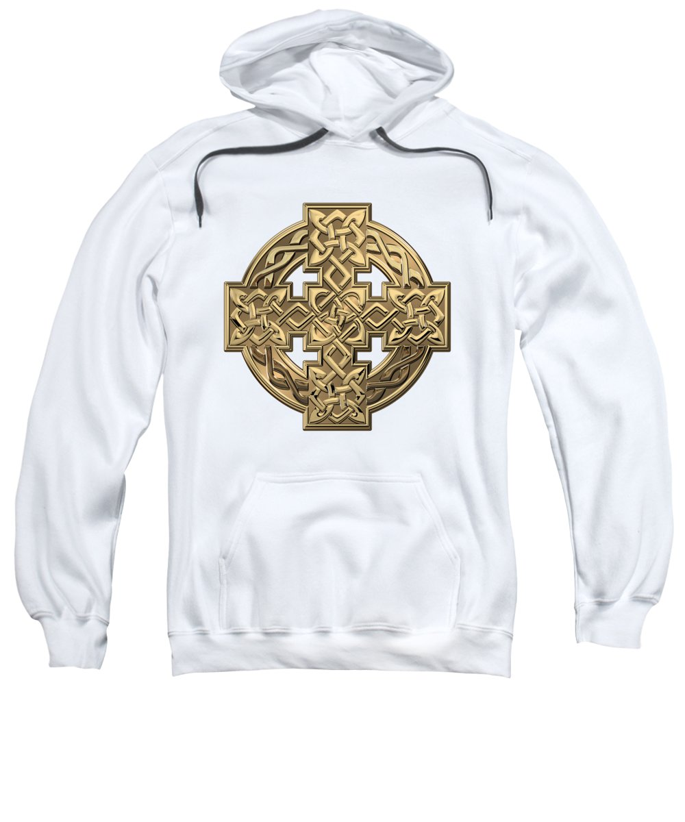 'celtic Treasures' Collection By Serge Averbukh Sweatshirt featuring the digital art Gold Celtic Knot Cross Over White Leather by Serge Averbukh
