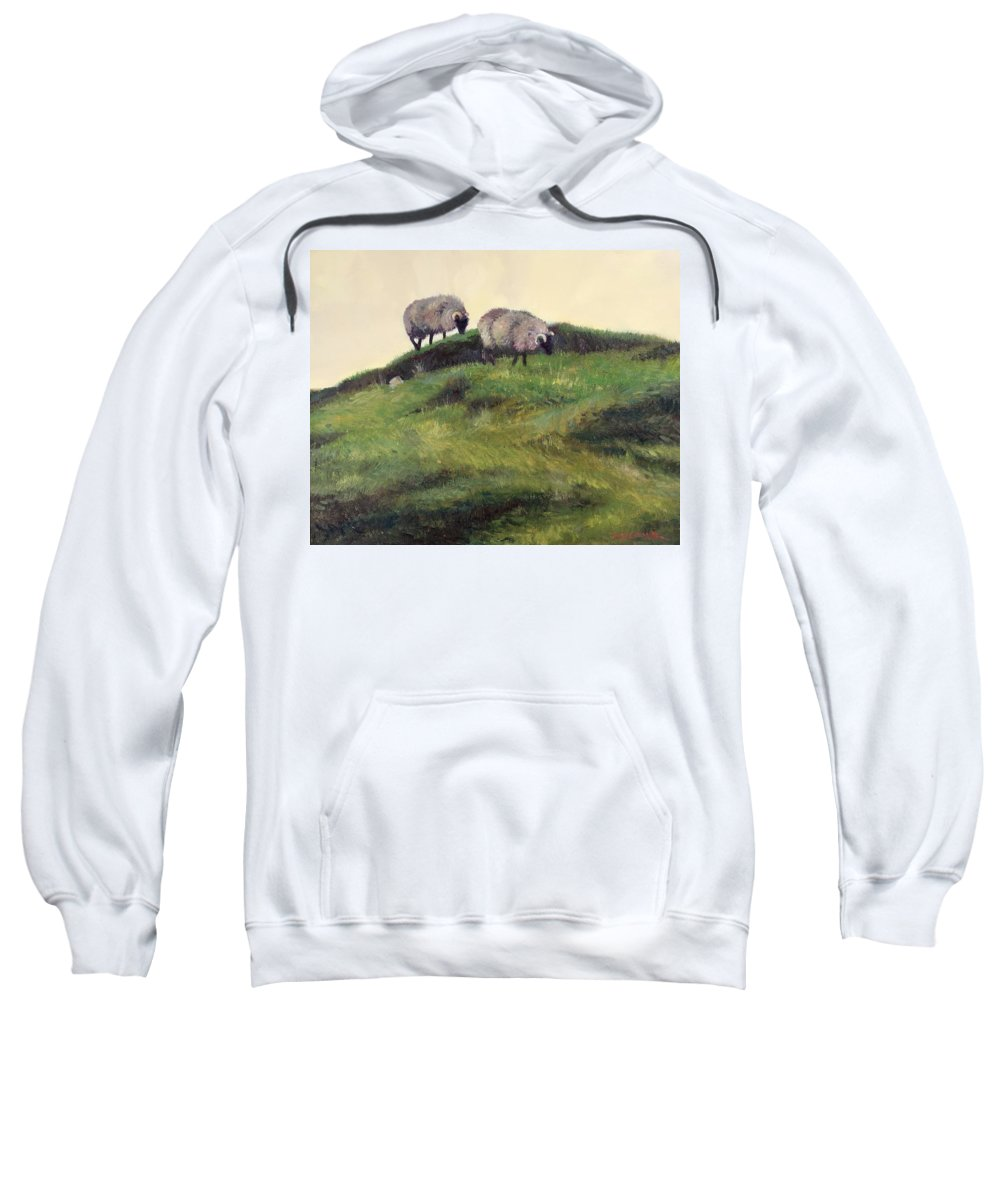 Sheep Sweatshirt featuring the painting Grazing by Dianne Panarelli Miller