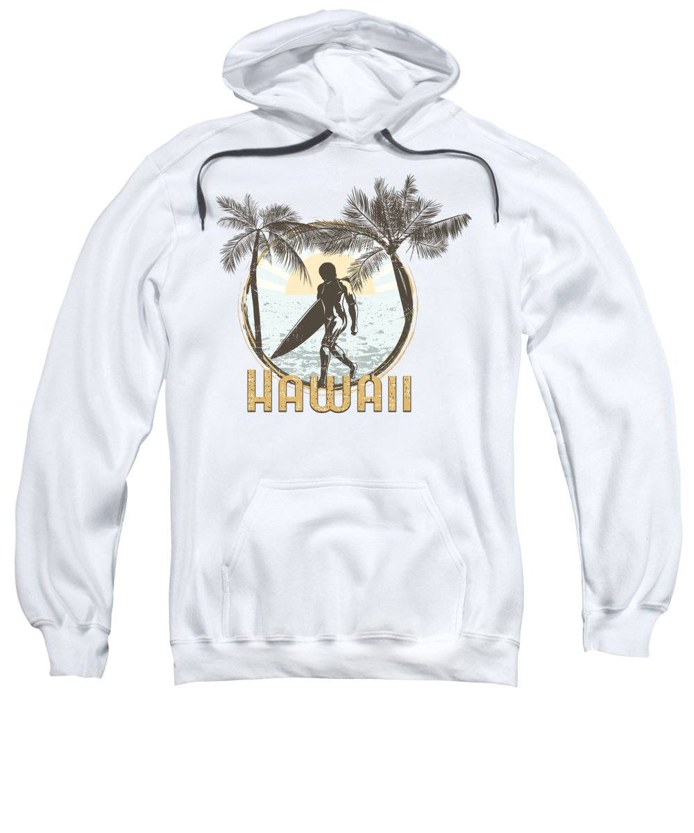 Beach Sweatshirt featuring the digital art Hawaii Surfer On Beach by Passion Loft