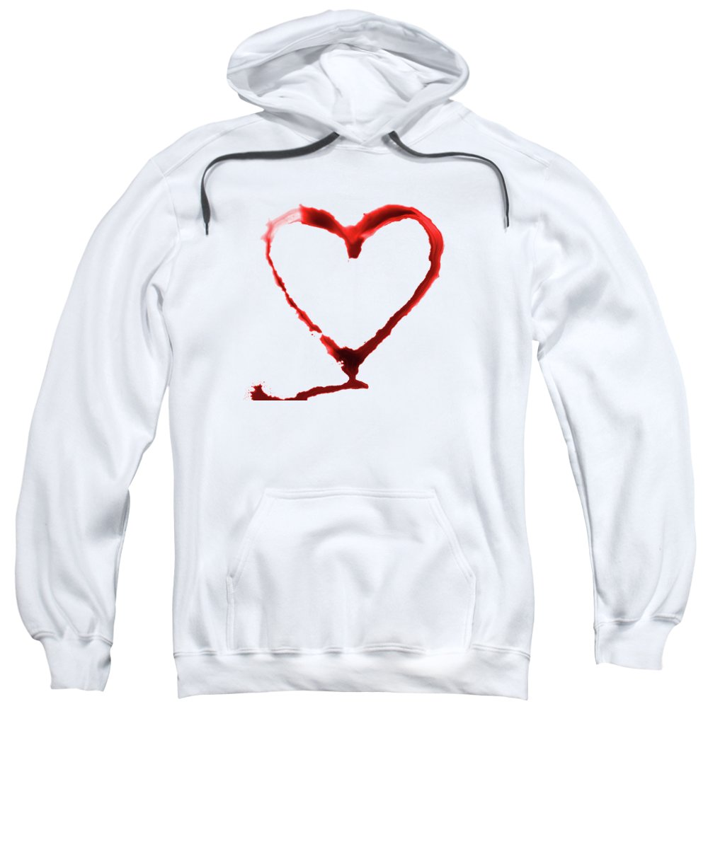Grunge Sweatshirt featuring the painting Heart Shape From Splaches And Blobs by Michal Boubin