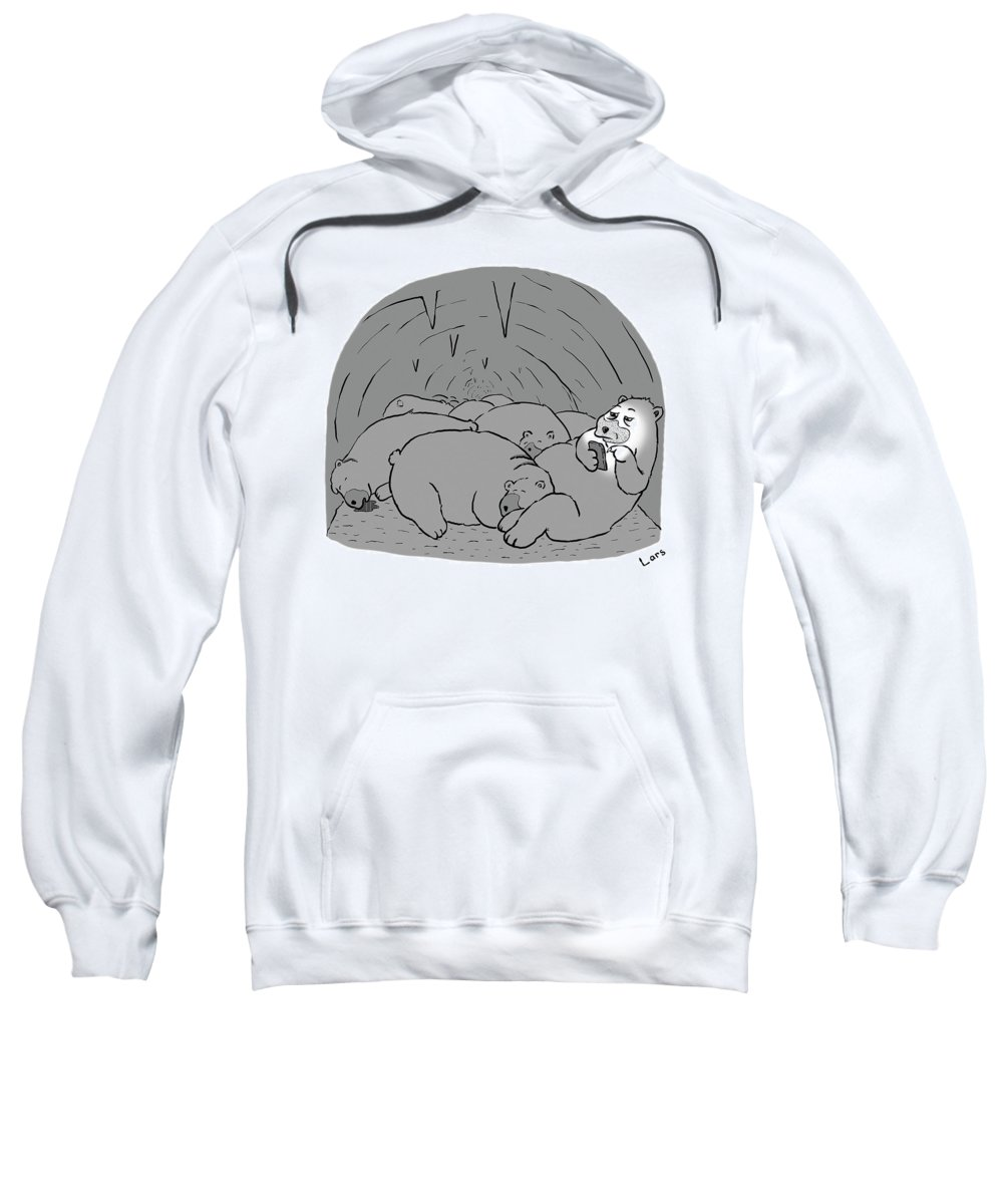 Bear Sweatshirt featuring the drawing Hibernation by Lars Kenseth
