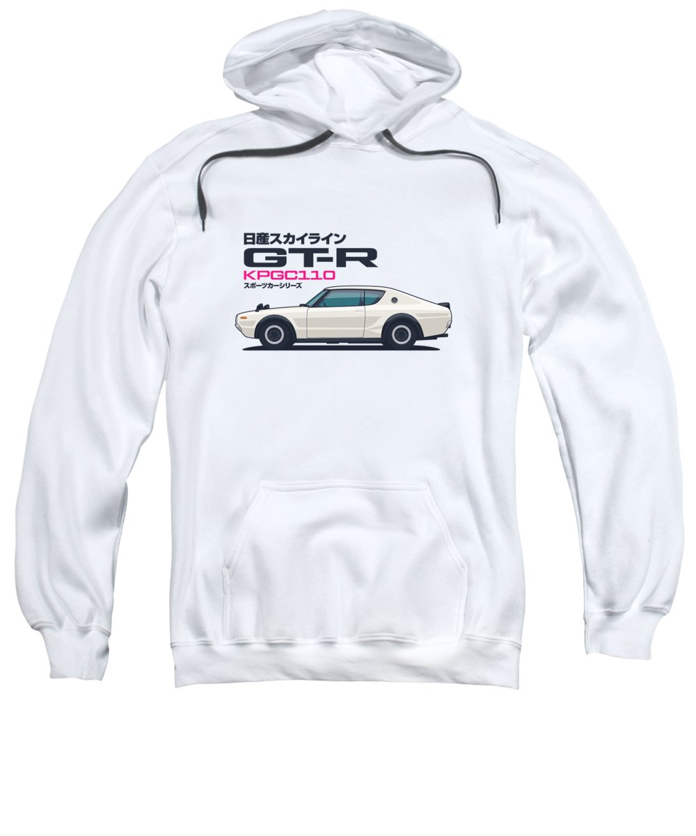 Gt-r Sweatshirt featuring the digital art Kpgc110 Gt-r Side - Plain White by Organic Synthesis