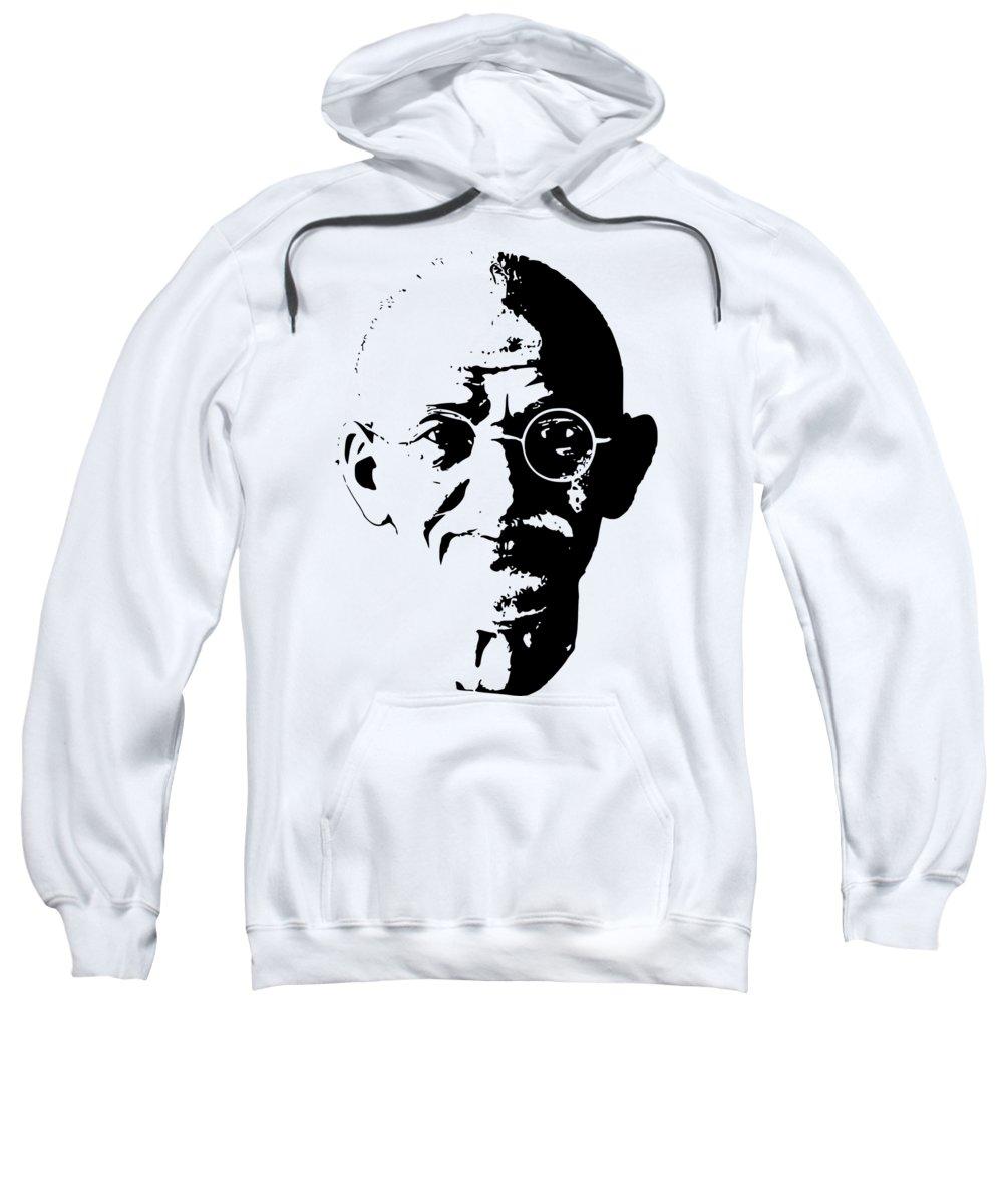 Gandhi Sweatshirt featuring the digital art Mahatma Gandhi Minimalistic Pop Art by Filip Schpindel