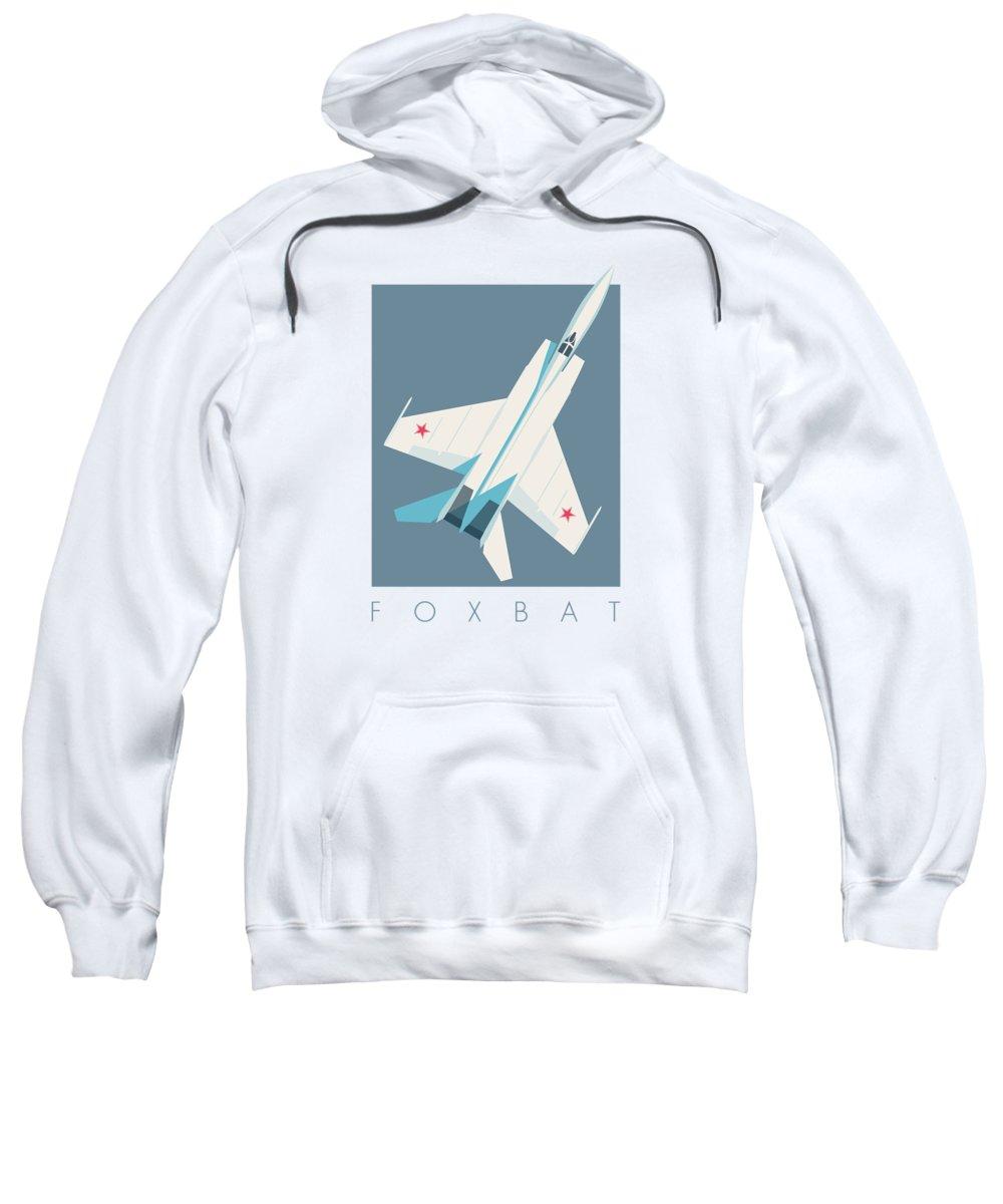Jet Sweatshirt featuring the digital art Mig-25 Foxbat Interceptor Jet Aircraft - Slate by Ivan Krpan