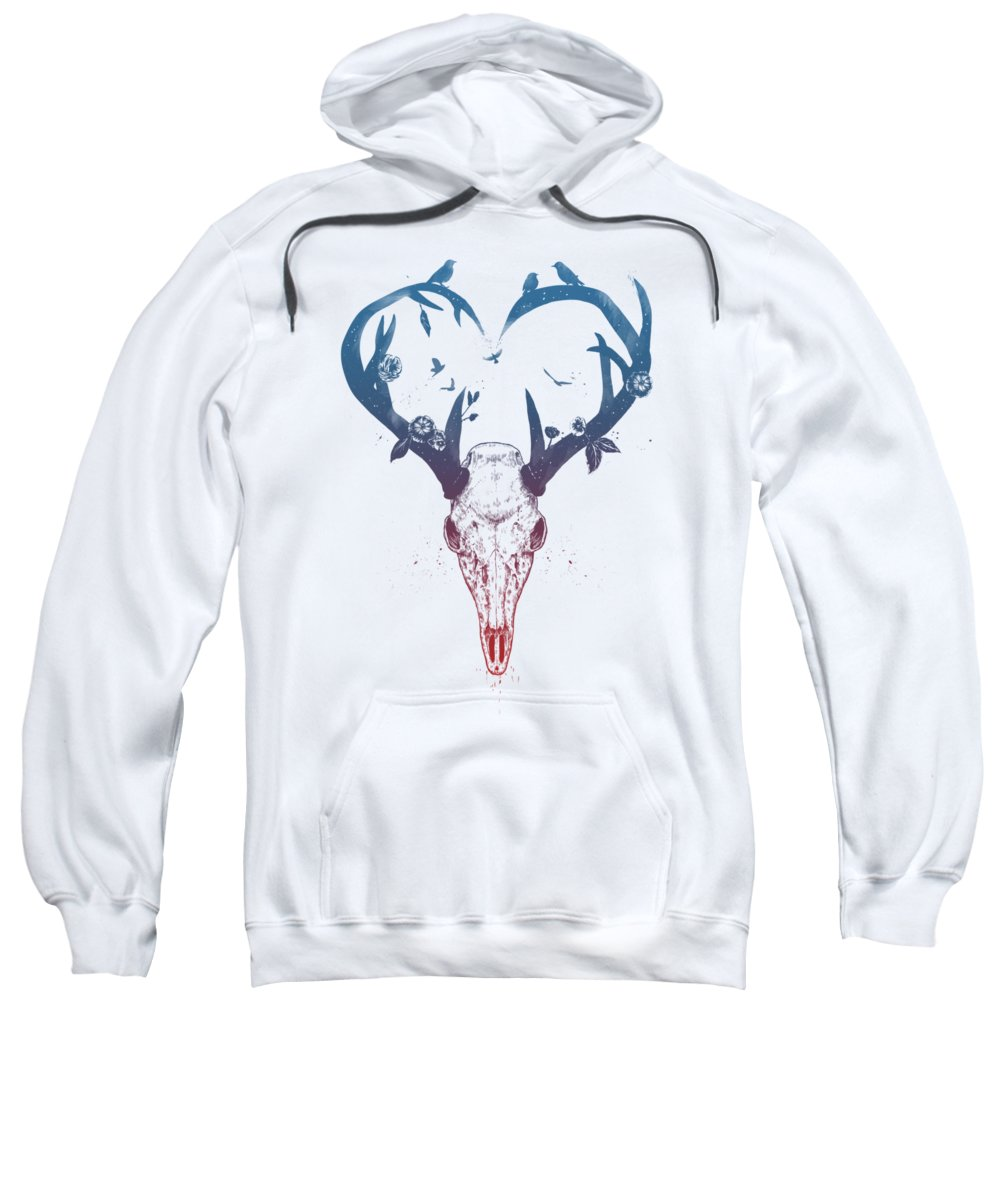 Deer Sweatshirt featuring the drawing Neverending love by Balazs Solti