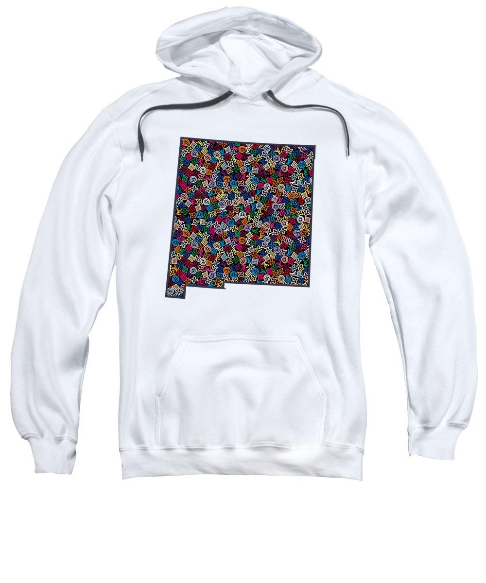 Santa Fe Sweatshirt featuring the painting New Mexico Map - 1 by Nikita