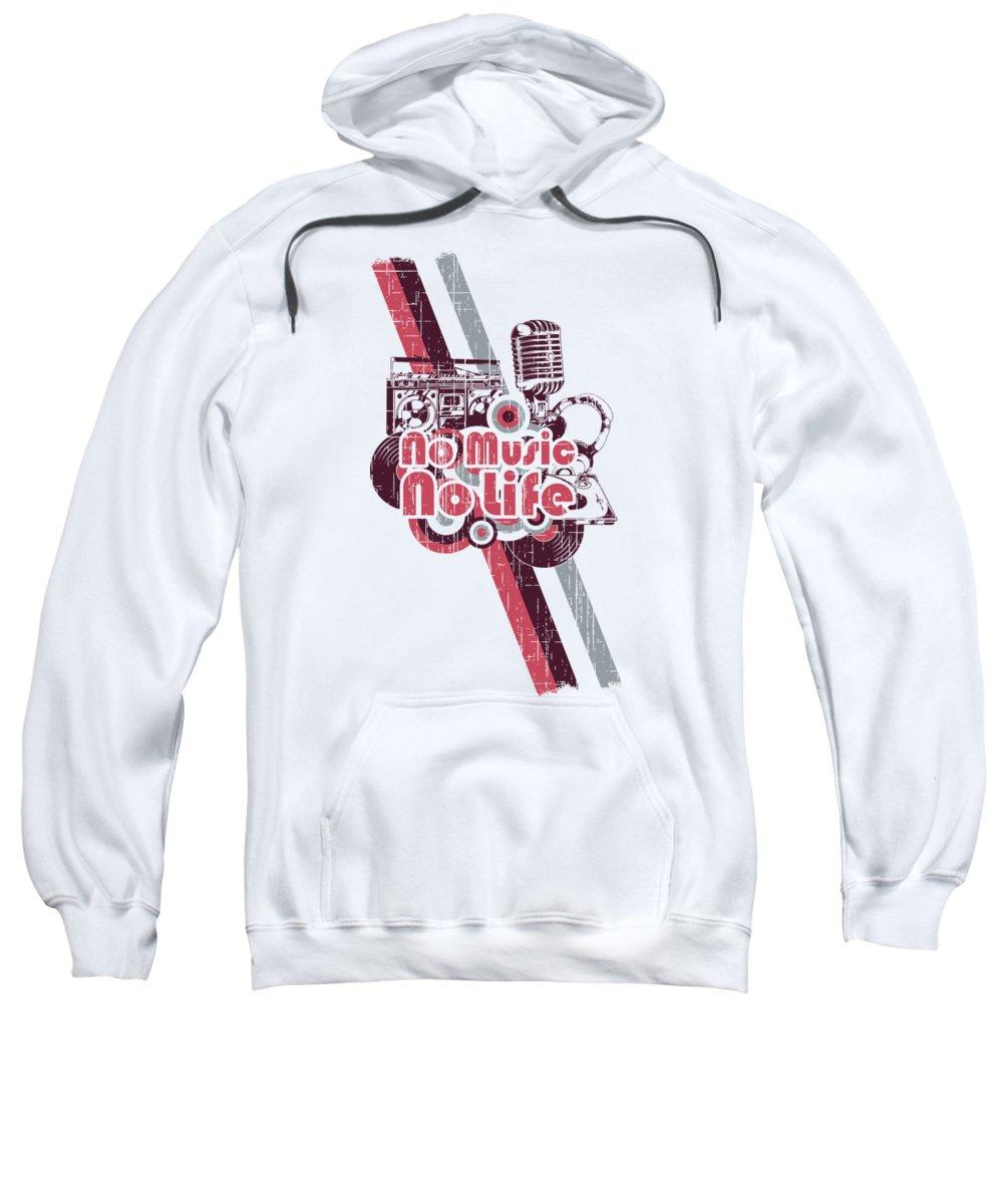 Mic Sweatshirt featuring the digital art No Music No Life Retro Style Studio by Passion Loft