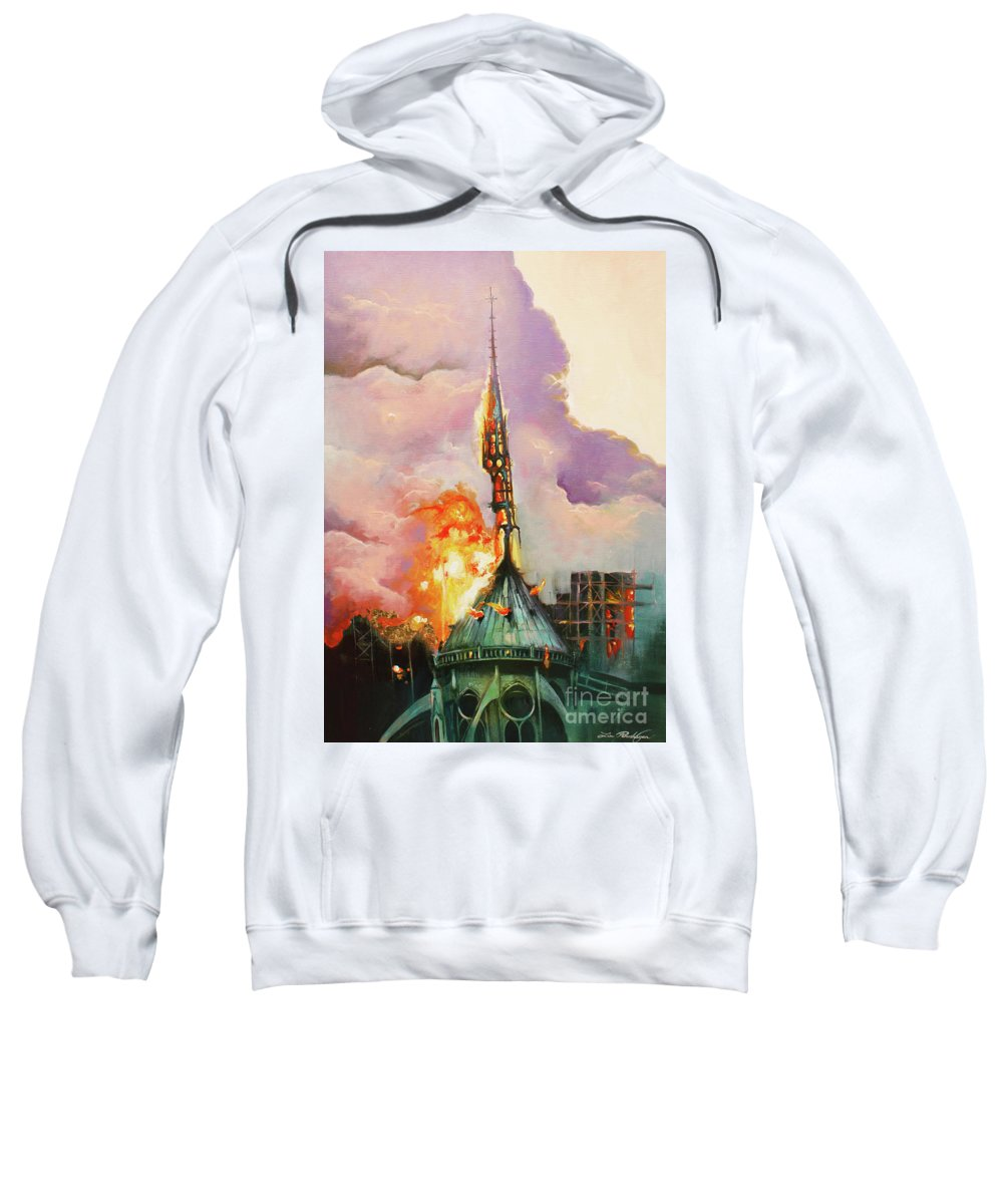 Lin Petershagen Sweatshirt featuring the painting Notre-dame by Lin Petershagen