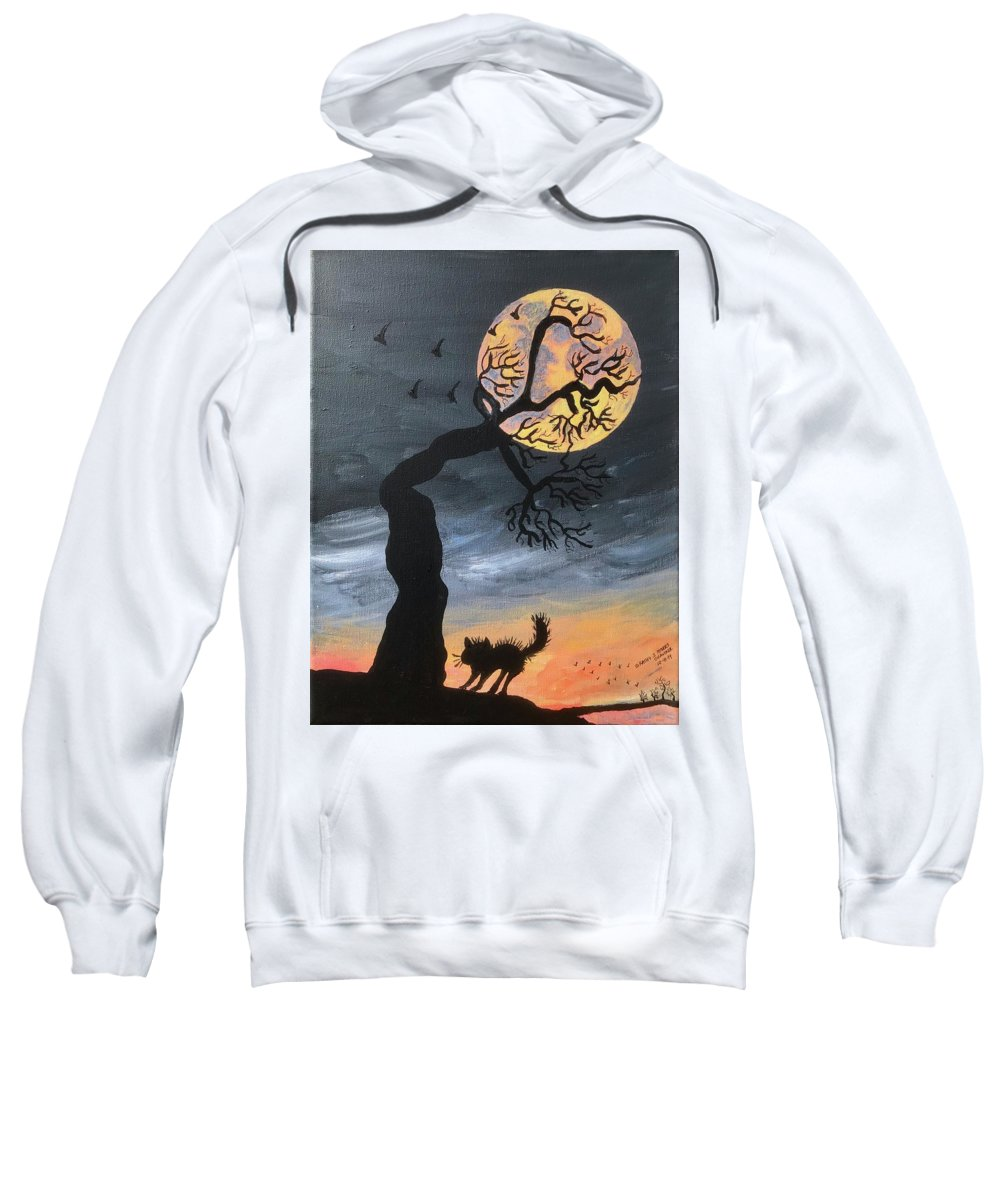 Hunters Moon Sweatshirt featuring the painting October Hunters Moon by Kathy Marrs Chandler