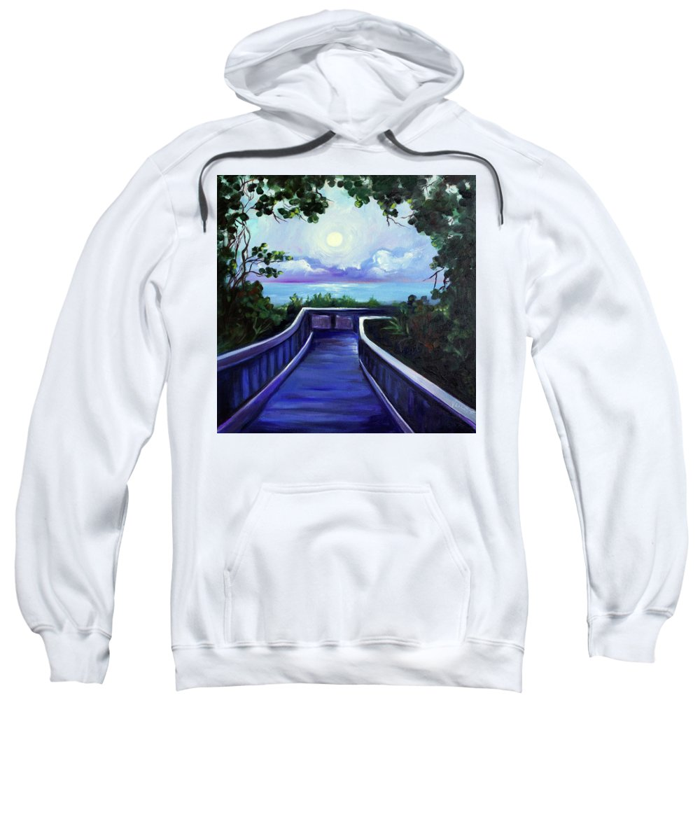 Super Moon Sweatshirt featuring the painting Path to Supermoon 2 by Valerie Vescovi