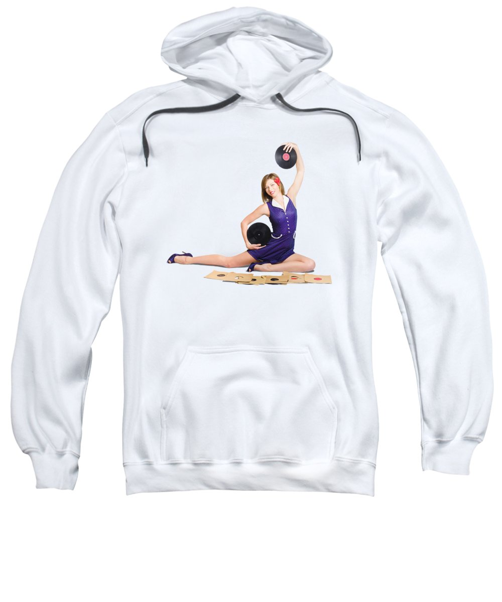 Jazz Sweatshirt featuring the photograph Pin-up Woman Balancing Sound With Record Music by Jorgo Photography - Wall Art Gallery