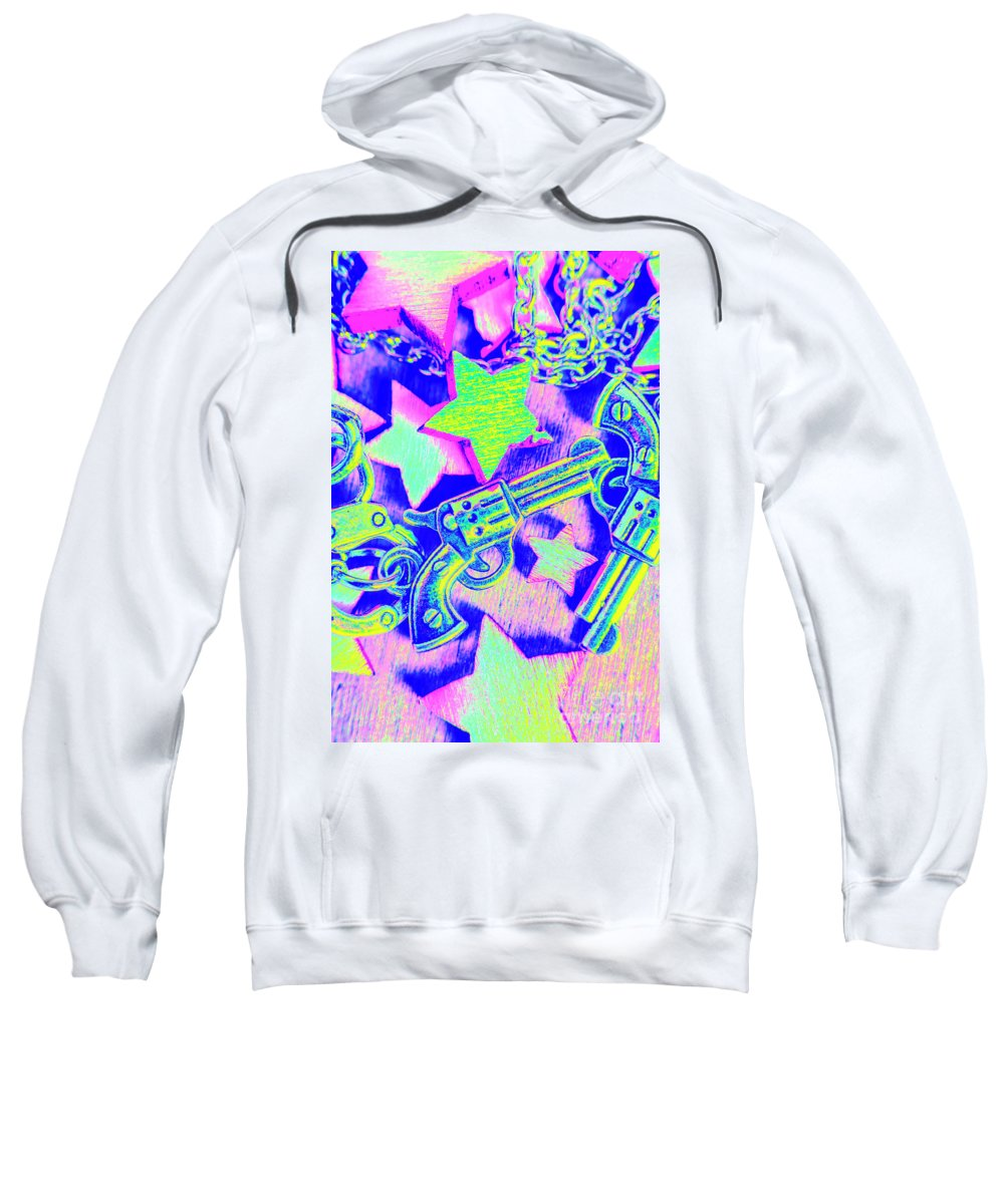 Pistol Sweatshirt featuring the photograph Pop Art Police by Jorgo Photography - Wall Art Gallery